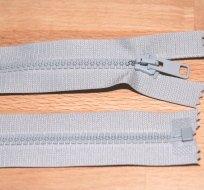 Zip kostěný dělitelný 55cm světle šedý