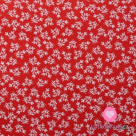 Bavlněný popelín potisk větvičky na červené