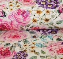 Teplákovina malované růže a fialky