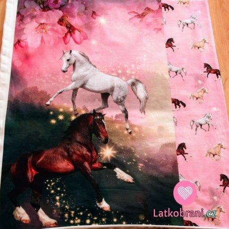 Úplet panel s úpletem koně s malými koňmi na růžové