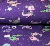 Teplákovina veselá dračice na fialové