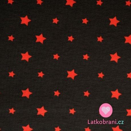 Úplet hvězdy oranžové na šedé (různě veliké)