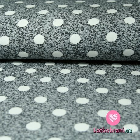 Teplákovina puntík bílý na šedém melé
