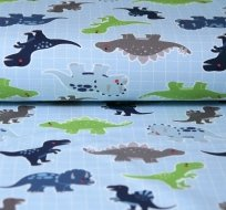 Úplet dinosauři na šachovnici na modré