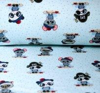 Teplákovina panda pirát v pruhovaném modrém triku na modré