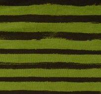 Teplákovina potisk čáry štětcem do pruhu tmavě hnědá na zelené