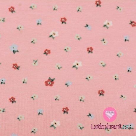 Teplákovina potisk drobná kvítka na sladce růžové