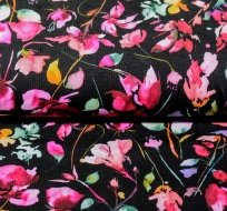 Úplet potisk fialkové květy na černé