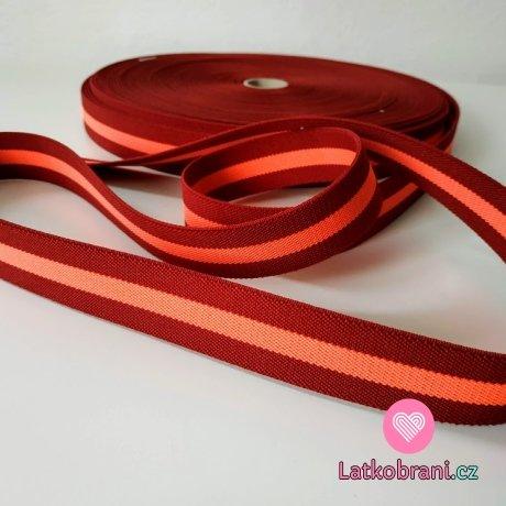 Pruženka barevná proužek bordó - neon růžová 25 mm