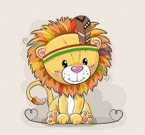 Panel lev indián na béžové