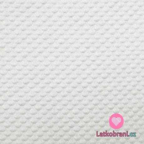 Pletenina plastické bublinky bílá s nádechem do smetanova