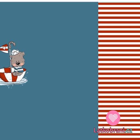 Teplákovina panel medvídek námořník plující v paraplíčku