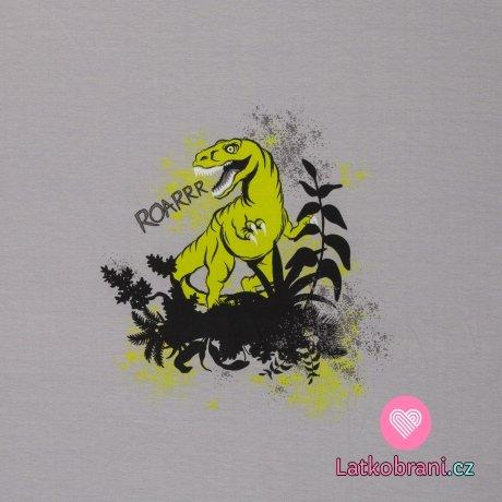 Úplet panel dinosaurus mezi pravěkými rostlinami na šedé