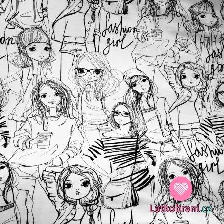 Teplákovna potisk černé Fashion girls na bílé