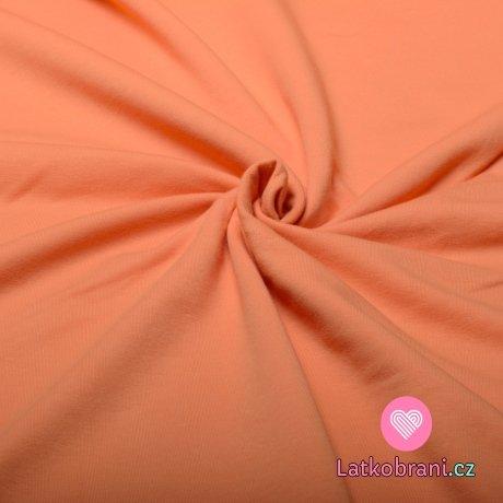 Jednobarevná teplákovina oranžová meruňková 240 g