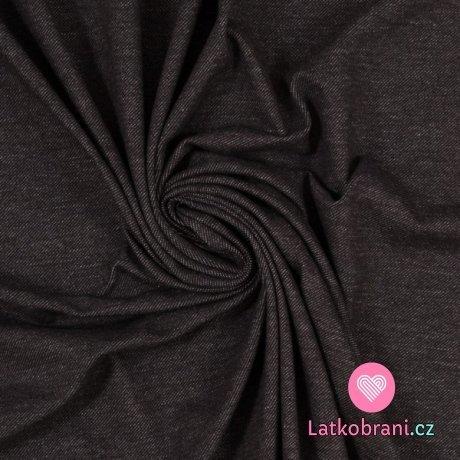 Teplákovina jeans efekt černá