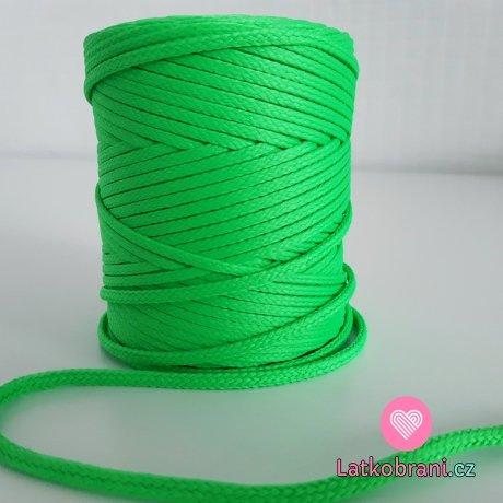 Šňůra oděvní kulatá  PES 4 mm neonově zelená