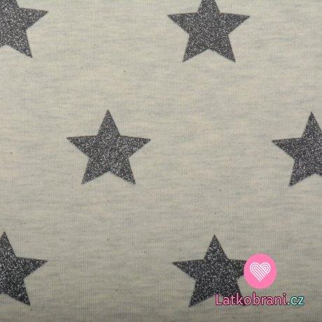 Teplákovina počesaná šedé třpytivé hvězdičky na ecru melé