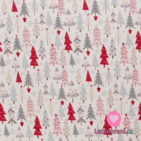 Úplet potisk vánoční stromečky na jemňoučkém šedém melíru