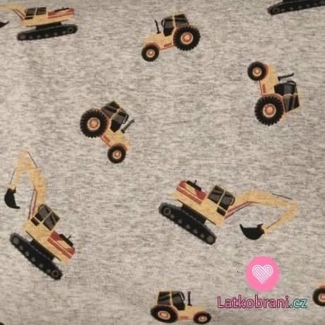 Warmkeeper potisk bagry a traktory na šedém melé
