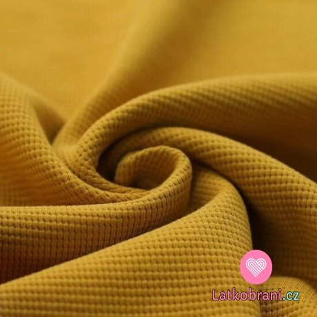 Bavlna s vaflovou vazbou jednobarevná hořčicová