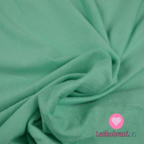 Viskózový jednobarevný úplet mintově zelený