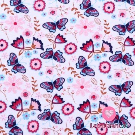 Bavlněný úplet barevný motýlek na krémové