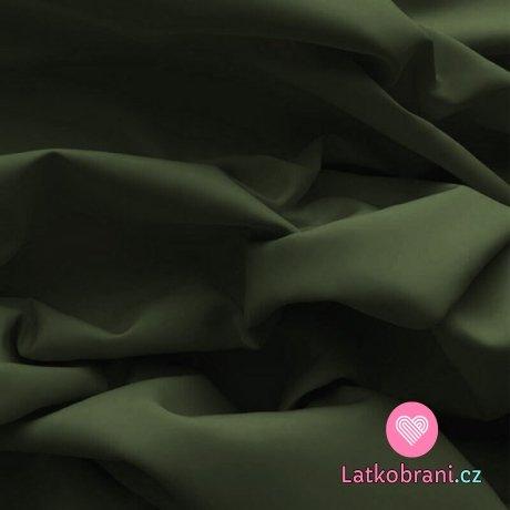 Bavlněný popelín jednobarevný khaki zelený