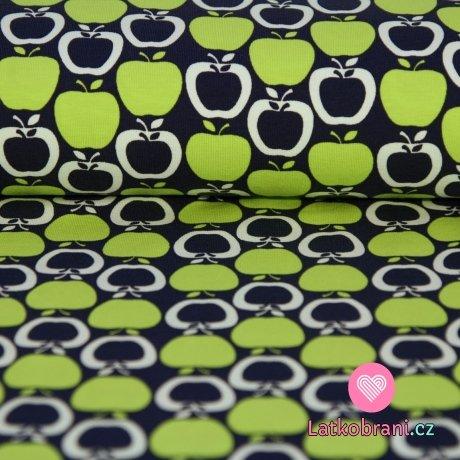 Úplet jablíčka zelená na tmavě modrém podkladu -ZBYTEK