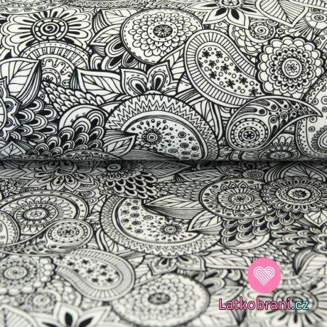 Teplákovina černobílé květy, ornamenty