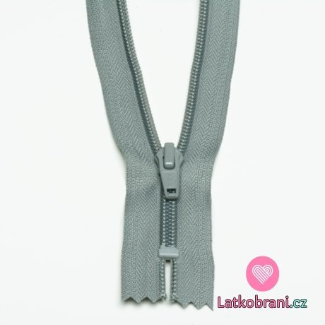 Zip spirálový nedělitelný šedý 12 cm