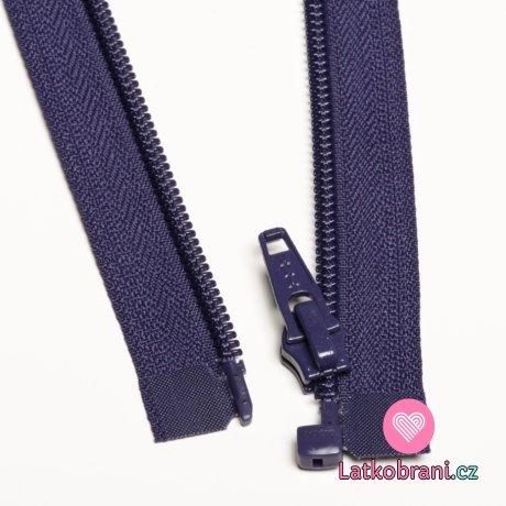 Zip spirálový dělitelný tmavší fialový 45cm