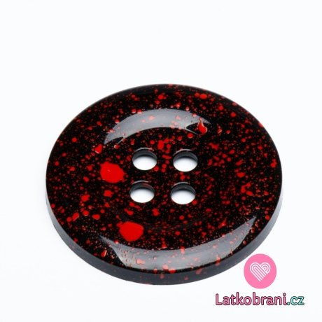 Knoflík mega velký černý s červenými cákanci