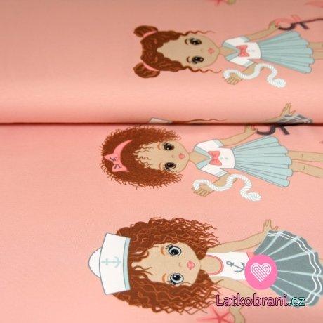 Úplet bordura holčička v námořnickém oblečku na růžové