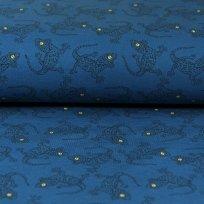 Teplákovina ještěrky žluté oči na modré tmavé