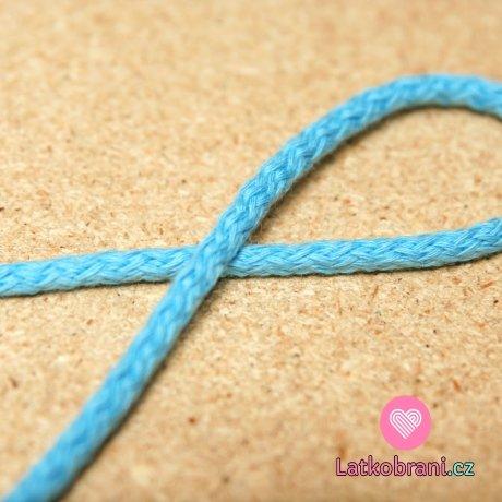 Šňůra kulatá oděvní bavlna 4 mm modrá pomněnková