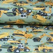 Úplet nákladní stroje bagr žlutý na khaki zelené