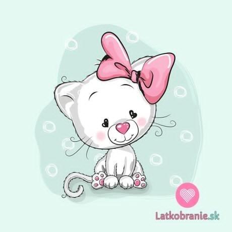 Panel kočička bílá s růžovou mašlí na mintové