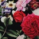 Teplákovina potisk kytice růží na černé