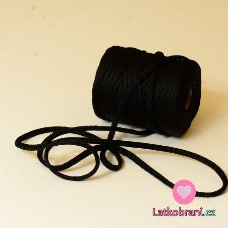 Šňůra kulatá oděvní PES 7 mm černá