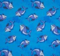 Úplet kreslení žraloci na modré
