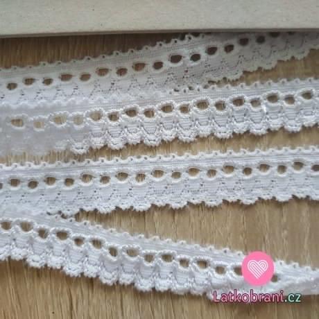 Krajka elastická bílá 15mm