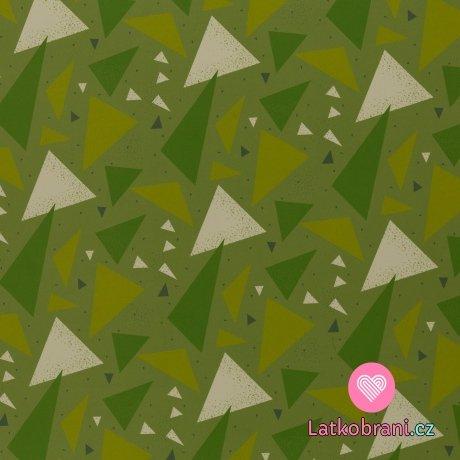 Softshell potisk různé trojúhelníky na zelené