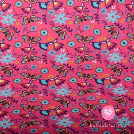 Bavlněný úplet barevní motýlci na růžové