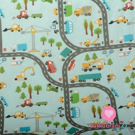 Bavlněný úplet dopravní prostředky na silnici na modré