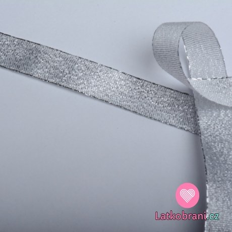 Stuha lurexová stříbrná 15 mm