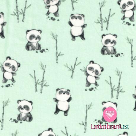 Úplet potisk veselá panda na mintovém podkladu