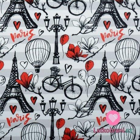 Úplet potisk Paříž na šedých proužcích
