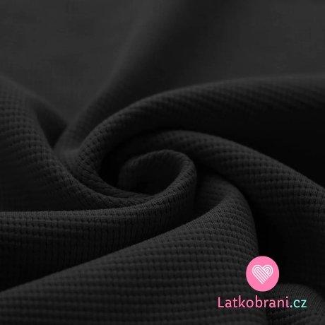 Bavlna s vaflovou vazbou jednobarevná černá