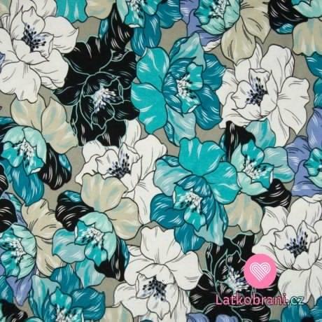 Úplet potisk viskózový modré květiny na šedé